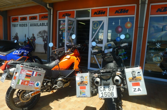 Both bikes back home at KTM Cape Town