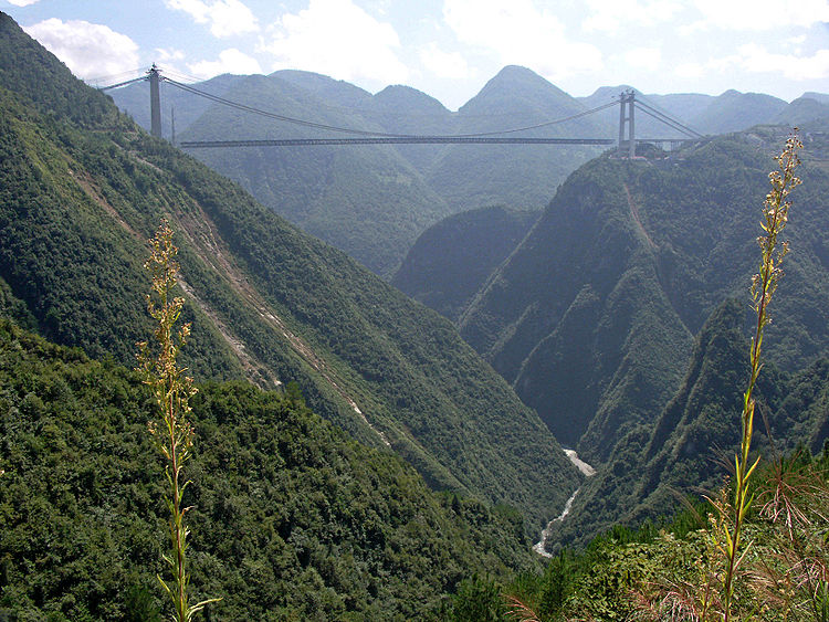 One of many bridges spanning the gorges in Hubei