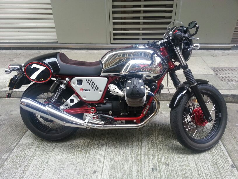Was thinking of getting something exotic for the ride.. like this Moto Guzzi cafe racer I saw in Hong Kong