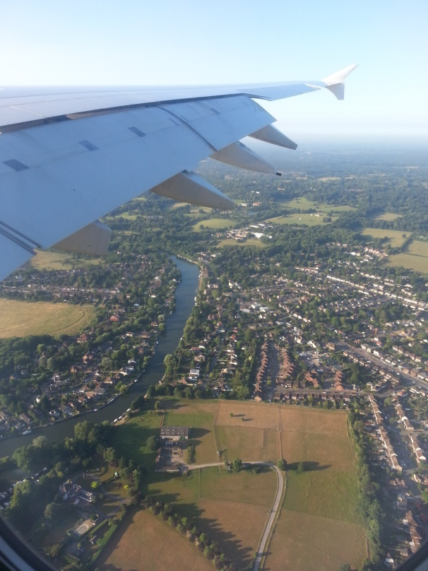 Arriving back in Blighty ... looking unusually pleasant down there