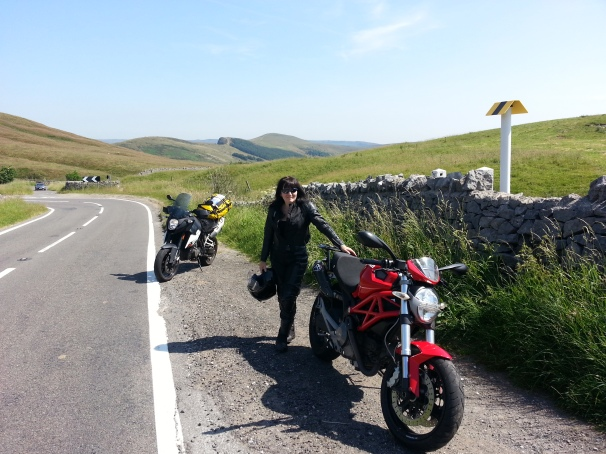 Going for a ride in Derbyshire with my  friend (from schooldays) Andrea and her Ducati Monster.