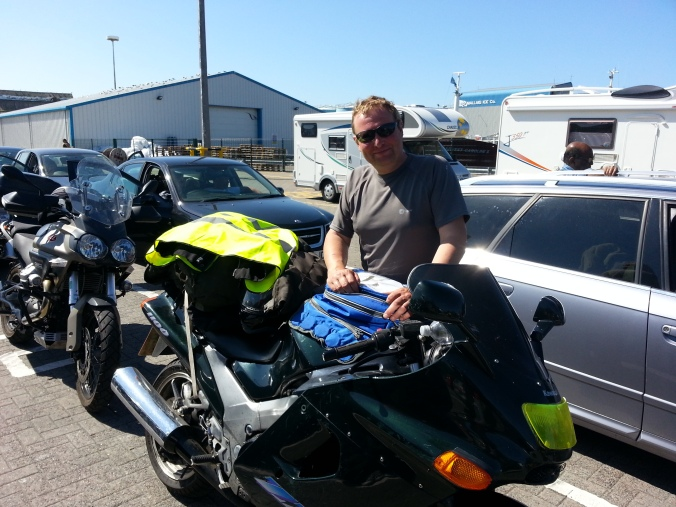 Taking ferry over to Isle of Skye with the other bikers. This biker from Durham, who lives on Skye introduced to me and gave me a can of  Avon skin cream all the locals use to ward off the scary Scottish midges.... its really does work. thanks..