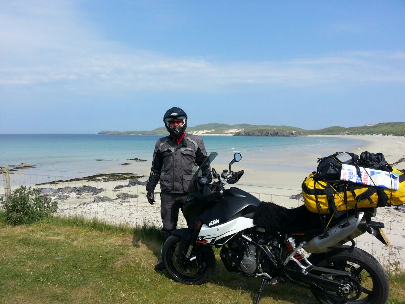 Lots of white sand beaches along the west and north coast of Scotland.