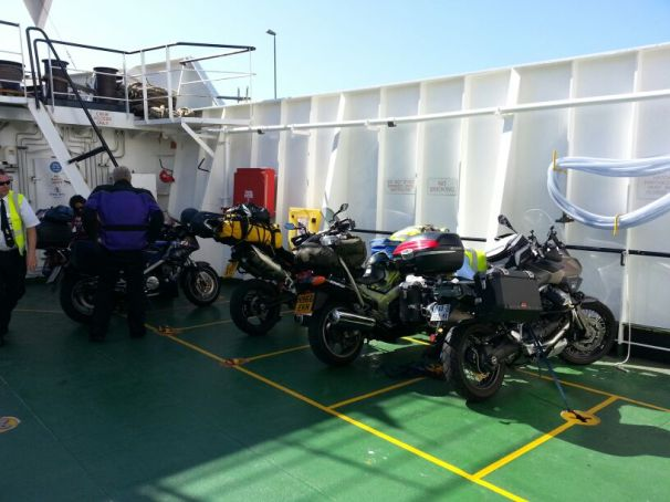 Ferry to Isle of Skye with the other bikers. It seemed with the good weather a lot of international bikers (the Moto Guzzi belonged to a French couple) were touring Scotland. That said as I went further north I saw less and less people.
