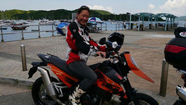 Fanny on KTM 690 SM in Hong Kong
