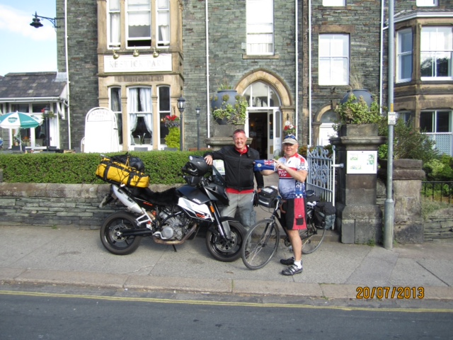 Meeting Steve Wordsworth from Hong Kong in Keswick. Steve and I worked together in Royal Hong Kong police (he still does) and he was riding his bicycle from Land's End to John O'Groats.... which he completed successfully  a week later.