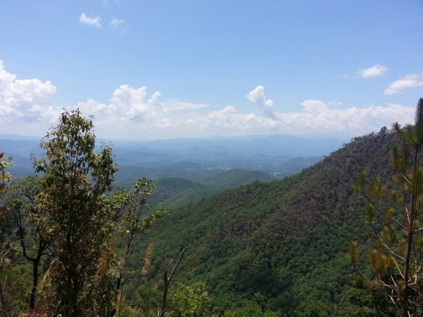 Mountains and forested hills and valleys along the 600 odd kilometers