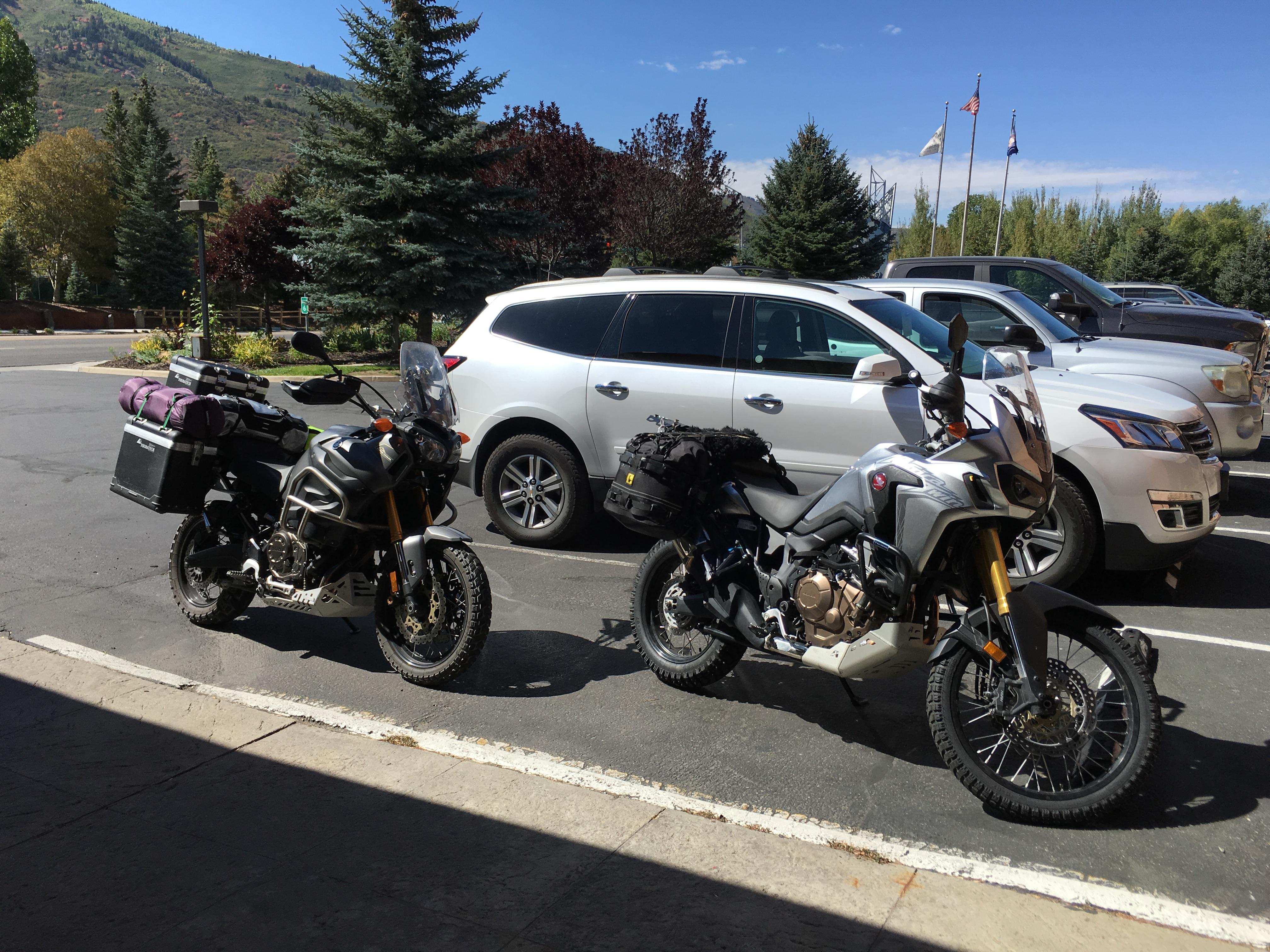 Johnu0027s Yamaha And Rupertu0027s Honda Parked Outside The Hilton Hotel In Park  City, Utah